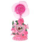 """Часы-светильник """"Роза"""", розовые, циферблат в виде сердечка, 34х16х11 см"""