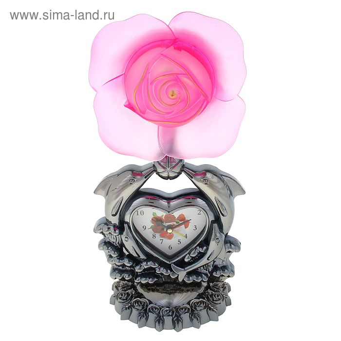 """Часы-светильник """"Красная/розовая  роза и дельфины"""", циферблат в виде сердечка, 34х16х11 см"""