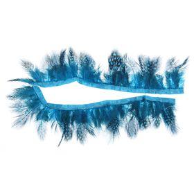 Лента перьев для декора, размер 1 шт 50*6 цвет бирюзово-черный