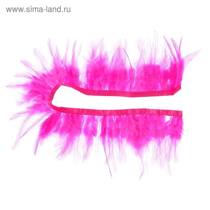 Лента перьев для декора, размер 1 шт 50*9 цвет ярко розовый