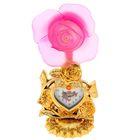 """Часы-светильник """"Красная/розовая  роза"""", циферблат в виде сердечка, 34х16х11 см"""