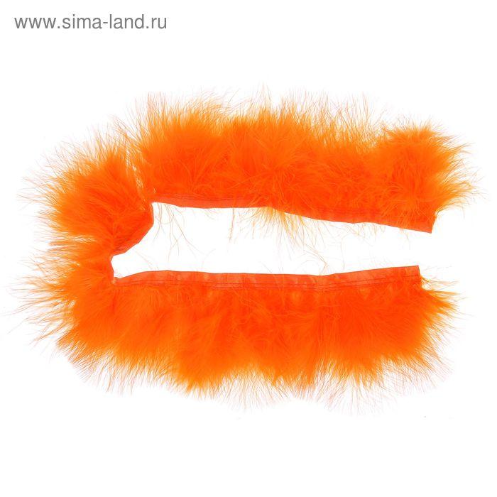 Лента перьев для декора, размер 1 шт 50*6 цвет оранжевый