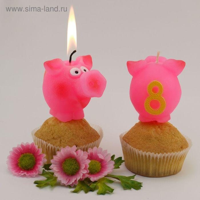 """Свеча для торта  цифра """"Весёлый поросёнок"""" розовая """"8"""""""