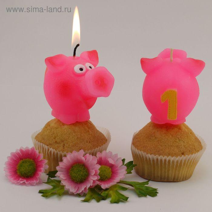 """Свеча для торта  цифра """"Весёлый поросёнок"""" розовая """"1"""""""