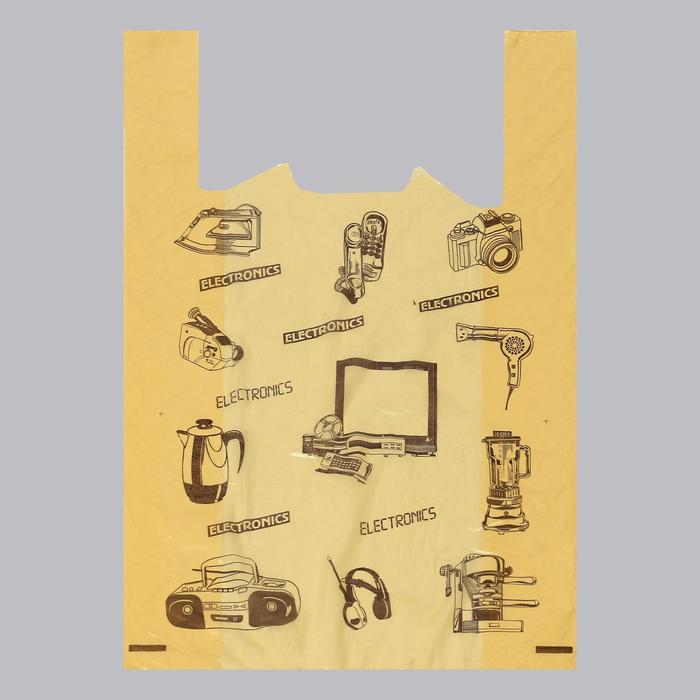 "Пакет ""Электрон желтый"", полиэтиленовый майка, 44х68 см, 25 мкм"