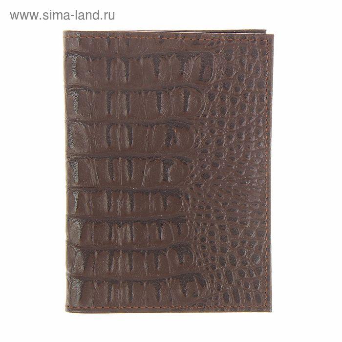 Обложка для автодокументов и паспорта, отдел для карт, отдел для SIM-карт, коричневый крокодил