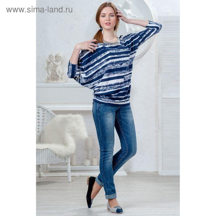 Блузка женская 4424 С+, размер 50рост 164 см,цвет т.синий/белый