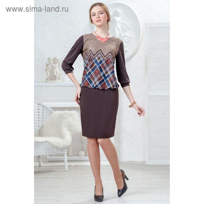 Платье женское 4434 С+, размер 50, рост 164 см, цвет коричнево-синий
