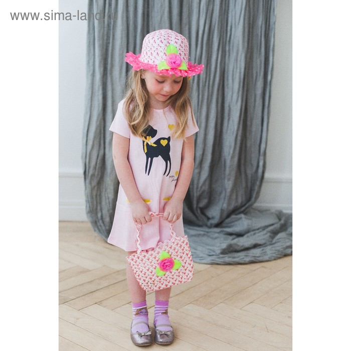 Набор сумочка и шляпка с цветочком, цвет розовый, р-р 50-52 см, 3-5 лет