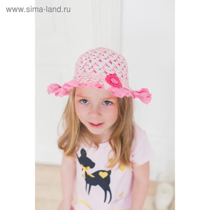 """Шляпа детская """"Кокетка"""" с цветком, цвета МИКС, р-р 44-46 см"""