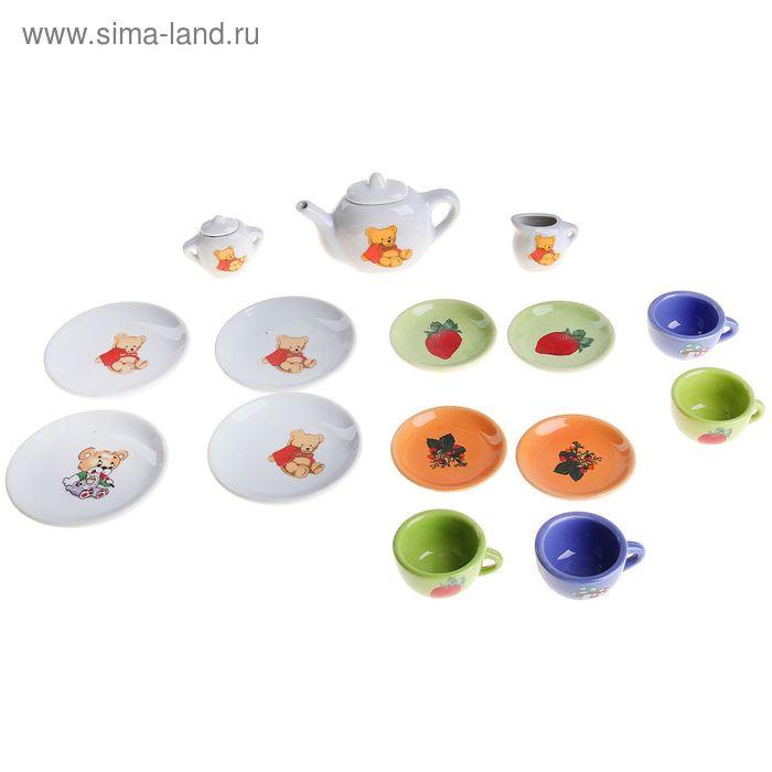 """Набор фарфоровой посуды """" Мишутки""""/фрукты, 15 предметов.в пакете"""