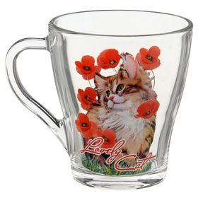 "Кружка 250 мл ""Кошки в цветах"", рисунок МИКС"