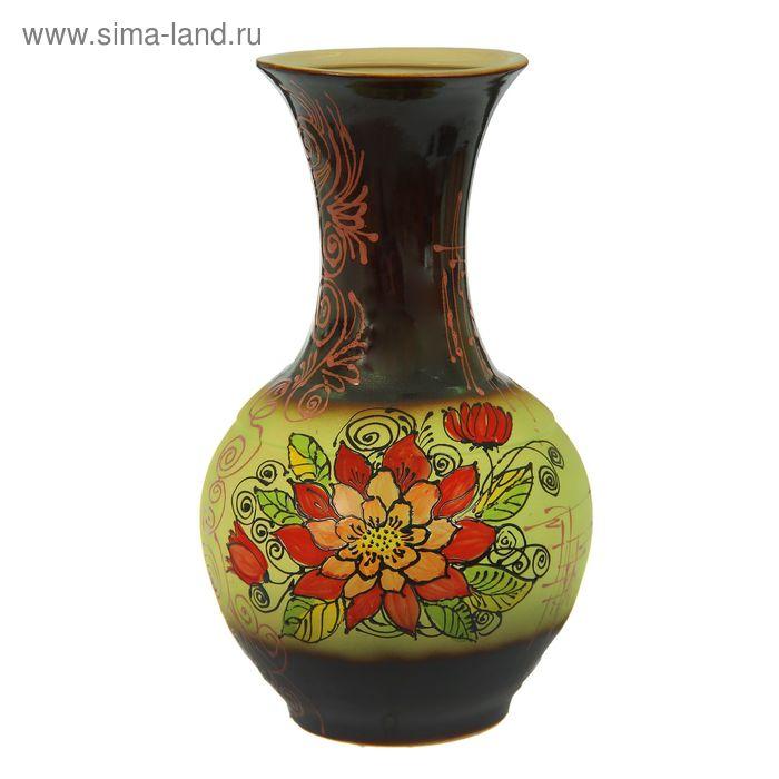 """Ваза напольная """"Аурелия"""" большая, цветы, коричнево-салатовая"""