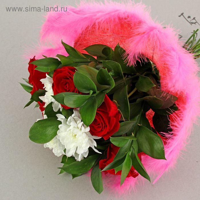 Каркас для букета 25 см, сизаль с перьями, розовый