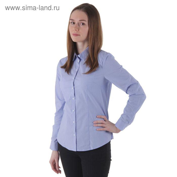 Блузка женская с длинным рукавом, размер 50, рост 170 см, голубая полоска (арт. 281-1556 C+)