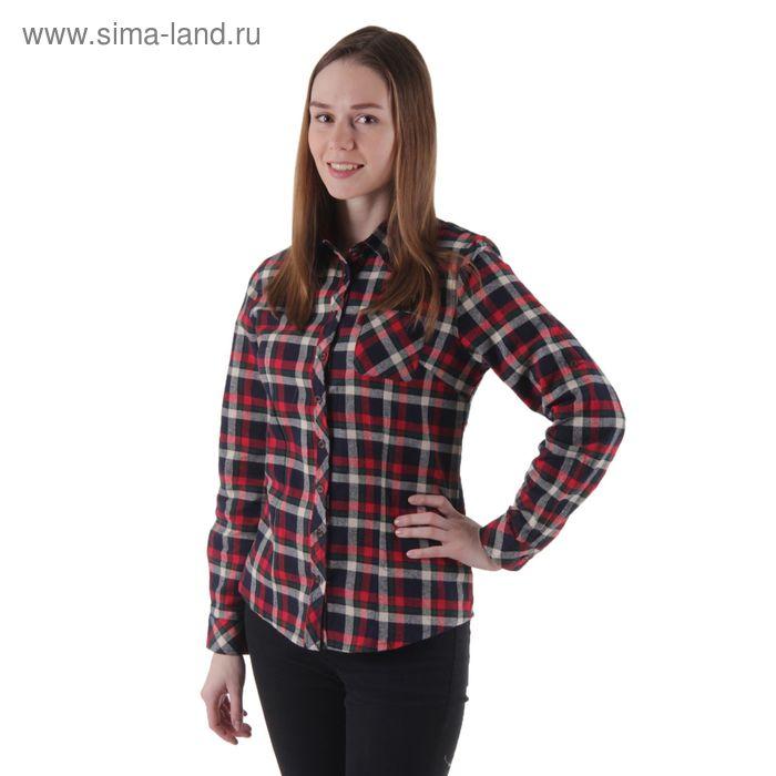 Блузка женская с длинным рукавом, размер 50, рост 170 см, цвет красно-сине-зелёная клетка (арт. 15130 С+)