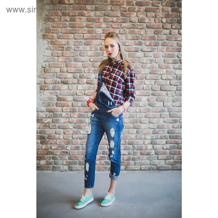 Блузка женская длинный рукав 15130, размер 48, рост 170 см, цвет красно-сине-зеленая клетка   130294