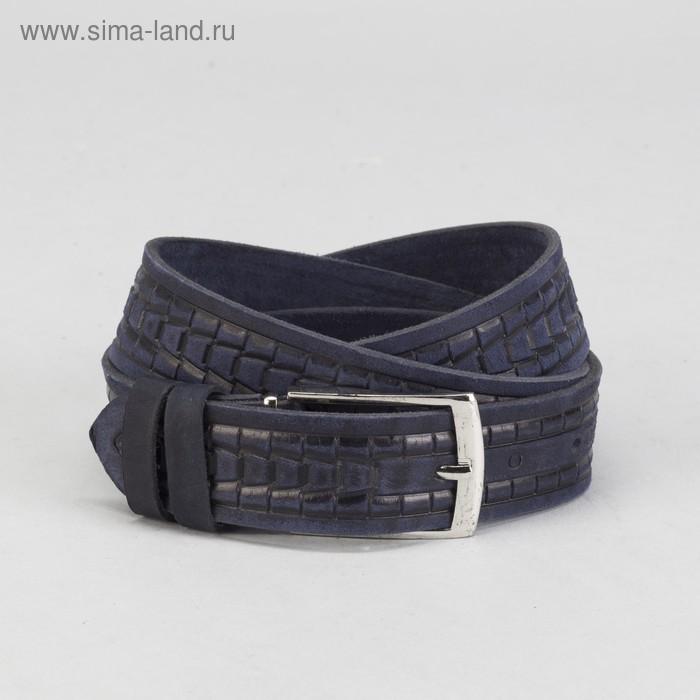 Ремень мужской, винт, пряжка под металл, ширина - 3,5см, синий