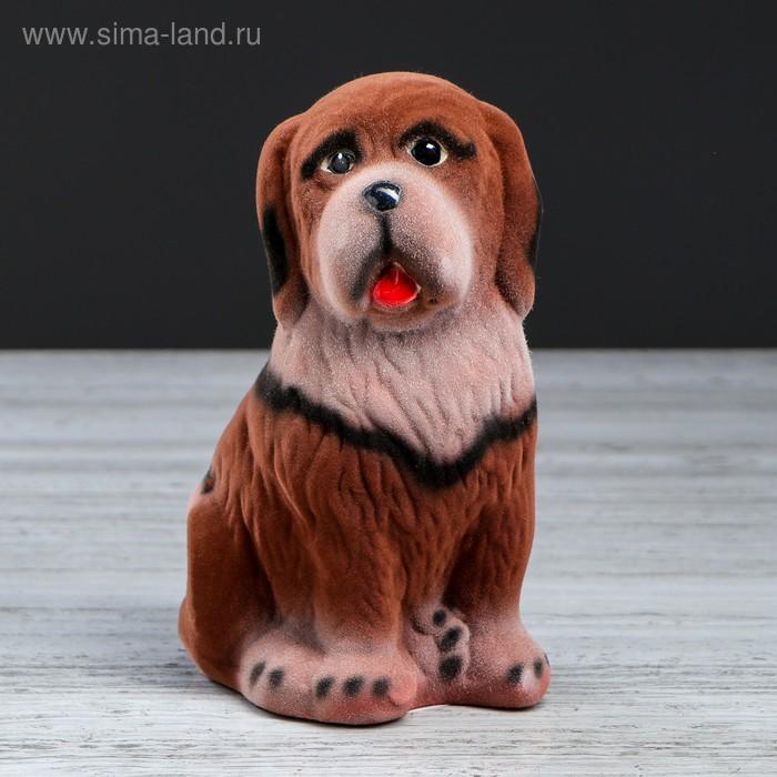 "Копилка ""Собака Бетховен"" малая, флок, коричневая, микс"