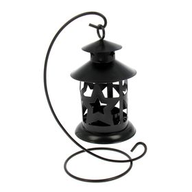 """Подсвечник 1 свеча """"Звёздный фонарь"""", чёрный"""