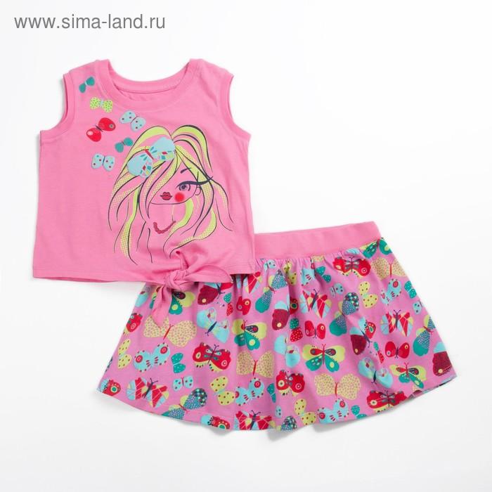 Комплект для девочки (майка+юбка), рост 98 см (56), цвет розовый_160083