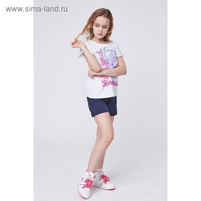 Футболка для девочки, рост 134 см (68), цвет белый_160237