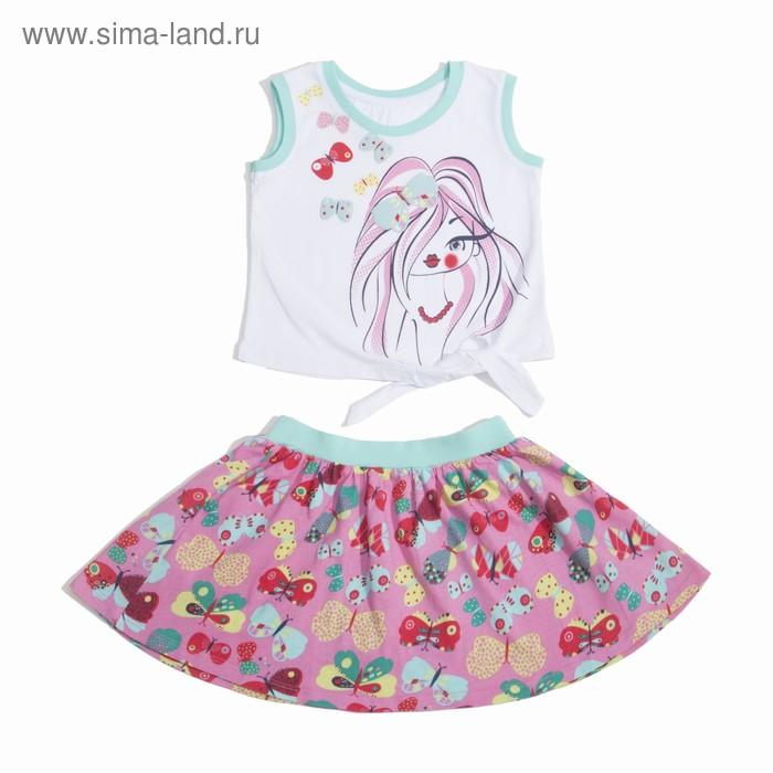 Комплект для девочки (майка+юбка), рост 110 см (60), цвет белый+бирюза/розовый_160083