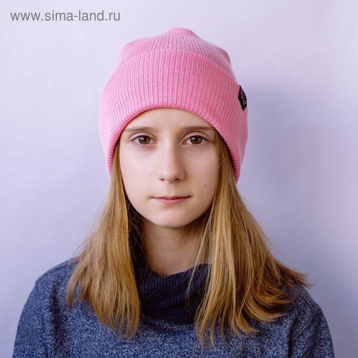 """Шапка для девушек """"ЕВА"""" демисезонная, размер 54-56, цвет розовый 160863"""