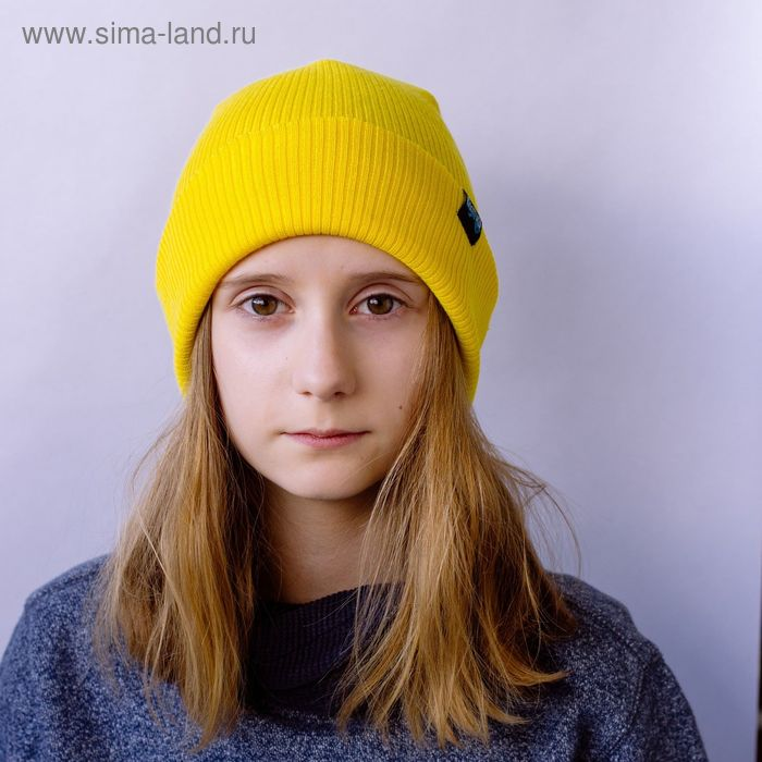 """Шапка для девушек """"ЕВА"""" демисезонная, размер 54-56, цвет жёлтый 160867"""