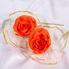 Набор оранжевых роз для украшения свадебного авто
