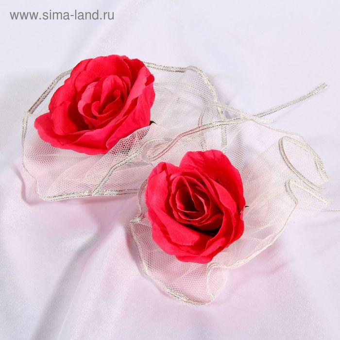 Набор ярко-розовых роз для украшения свадебного авто