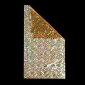 Пакет подарочный голографический золото, 40х23 см, 32 мкм