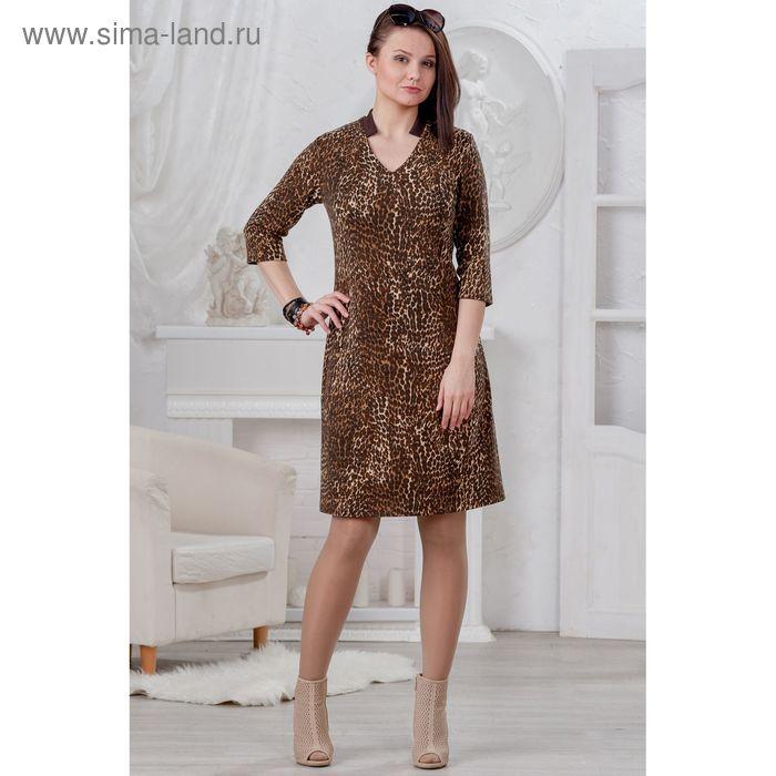 Платье женское 4454, размер 46, рост 164 см, цвет шоколад/леопард