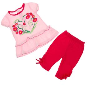 Комплект для девочки (блузка+бриджи), рост 80 см (12 мес), цвет фуксия/светло-розовый Л199