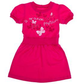 Платье с коротким рукавом для девочки, рост 98 см (3 года), цвет фуксия Л466
