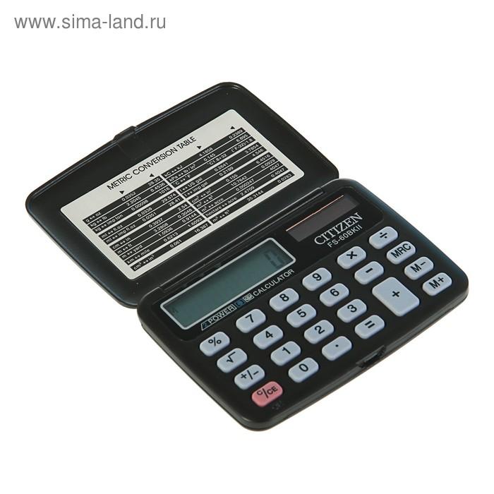 Калькулятор карманный 8-разрядный FS-60BKII, 69*97*12мм, двойное питание, черный