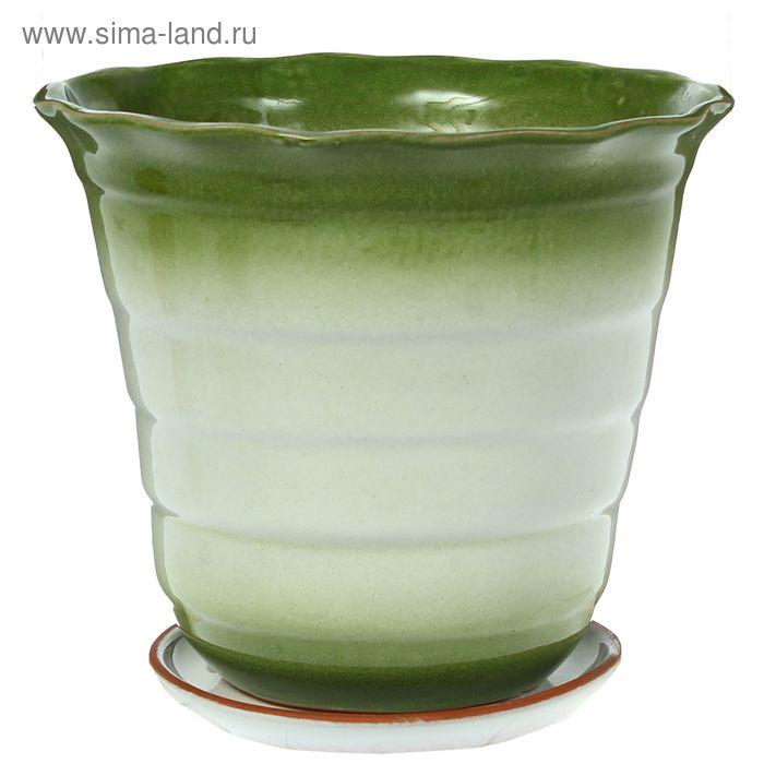 """Кашпо """"Полоска"""" зелёное, микс 1,5 л"""