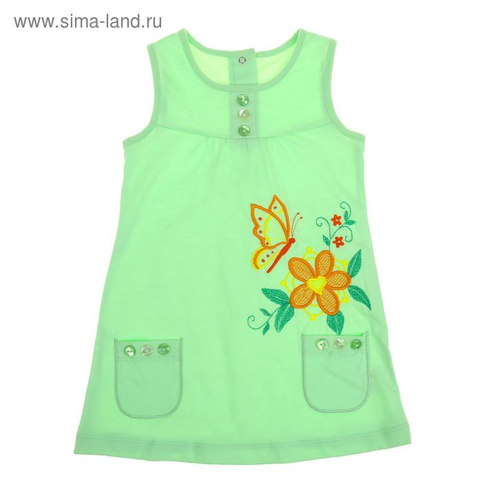 Платье с коротким рукавом для девочки, рост 86 см (18 мес), цвет салат Л195