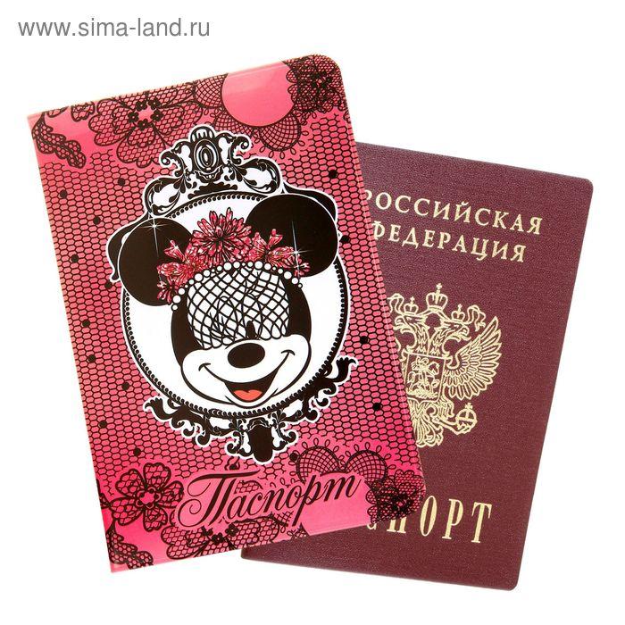 """Обложка для паспорта """"Сетка"""", Минни Маус"""