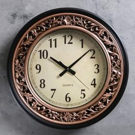 """Часы настенные круглые """"Серия Золото. Классика"""", d=38 см, рама коричневая, вставки под бронзу"""