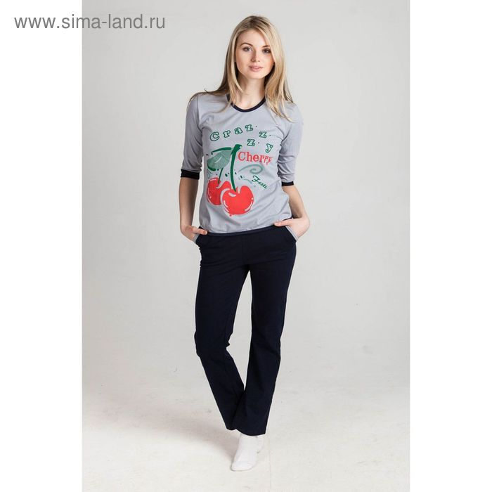 Комплект женский (кофта, брюки) Вишня серый, р-р 48