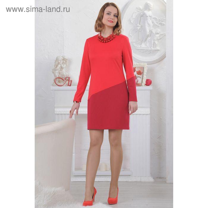 Платье женское, размер 50, рост 164 см, цвет коралл/вишня (арт. 4506 С+)