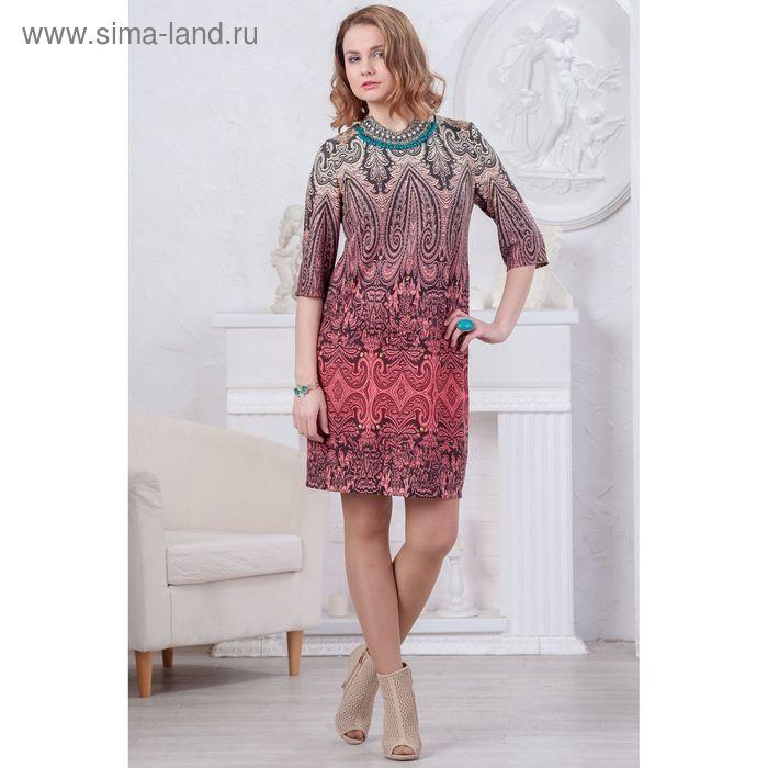 Платье женское 4483, размер 46, рост 164 см, цвет коралл/черный