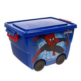 """Ящик для игрушек """"Человек-паук"""" на колёсах, с крышкой, 23 л, цвет синий"""