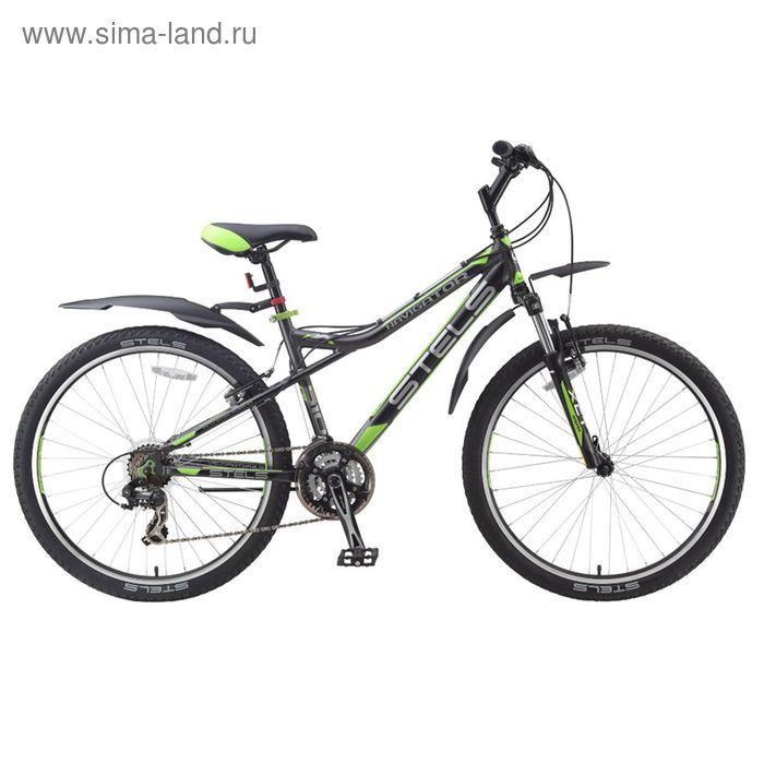 """Велосипед 26"""" Stels Navigator-510 V, 2016, цвет тёмно-серый/чёрный/салатовый, размер 16"""""""