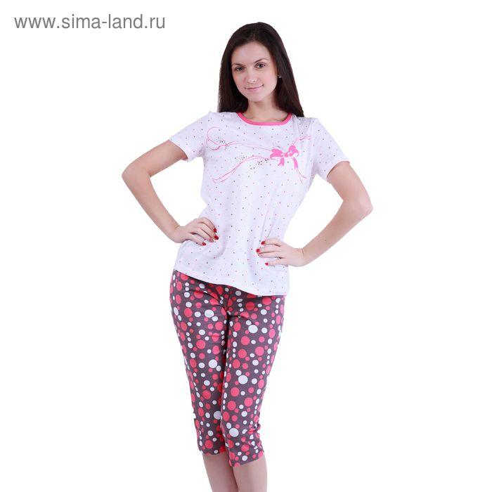 """Пижама женская """"Цветные сны"""" (футболка, бриджи) Р208127, рост 158-164 см, р-р 44"""