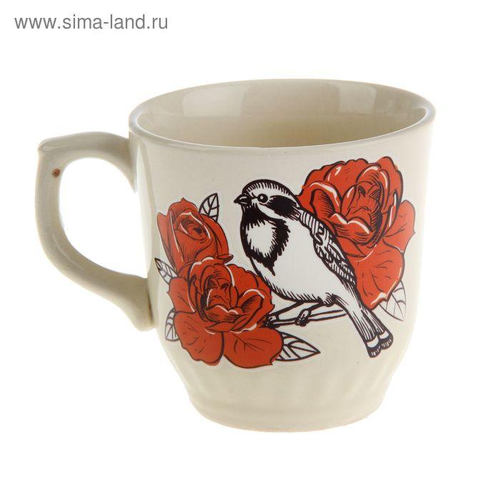 """Кружка """"Весна"""" розы, птица, деколь, 250 мл"""