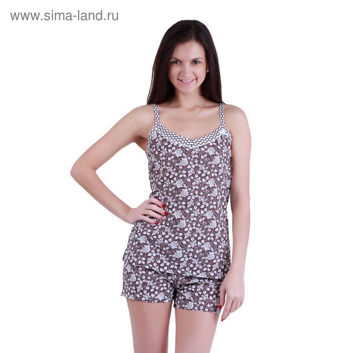 Пижама женская (топ, шорты) Р208078 вискоза цвет коричневый, рост 170-176 см, р-р 54