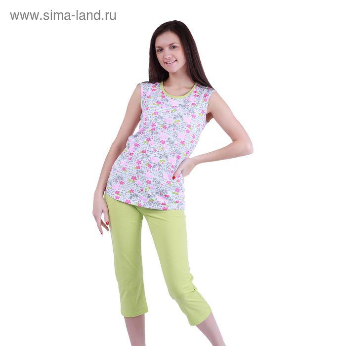 """Пижама женская """"Цветочные мотивы"""" (майка, бриджи) Р207355, рост 170-176 см, р-р 44"""