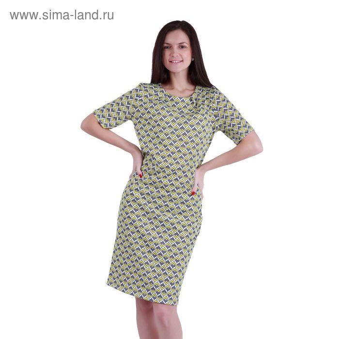 """Платье женское""""Ромбы-купола"""" Р708113, рост 158-164 см, р-р 52"""